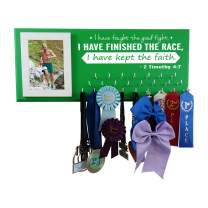 Race bib Medal Display - I Have Fought The Good Fight - Inspirational Bible Verse on Medal Holder Runners - Timothy 4:7 - Running Gear Runners That has Everything