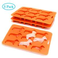 Dachshund Silicone Ice Cube Trays BPA Free 3 Pack,Easy-Release and Stackable 9-Ice Molds Flexible Ice Tray Weiner Dog Shape for Ice Cube Chocolate Baby Food Making (3 pack)