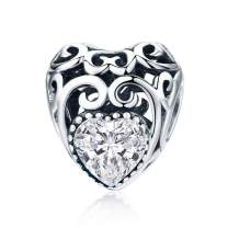 NINGAN Birthstone Openwork Heart Bead Charms 925 Sterling Silver Fits Pandora & European Charm Bracelets Necklaces