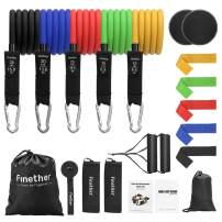 Finether 21 pcs Resistance Bands Set with 5 Stackable Exercise Bands,5 Resistance Loop Bands,2 Sided Exercise Sliders, Carrying Pouches, Door Anchor, Ankle Straps, Exercise Band Kit for Yoga, Pilates