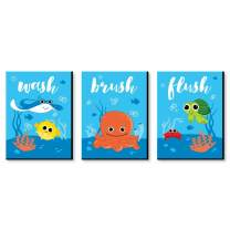 Big Dot of Happiness Under the Sea Critters - Kids Bathroom Rules Wall Art - 7.5 x 10 inches - Set of 3 Signs - Wash, Brush, Flush