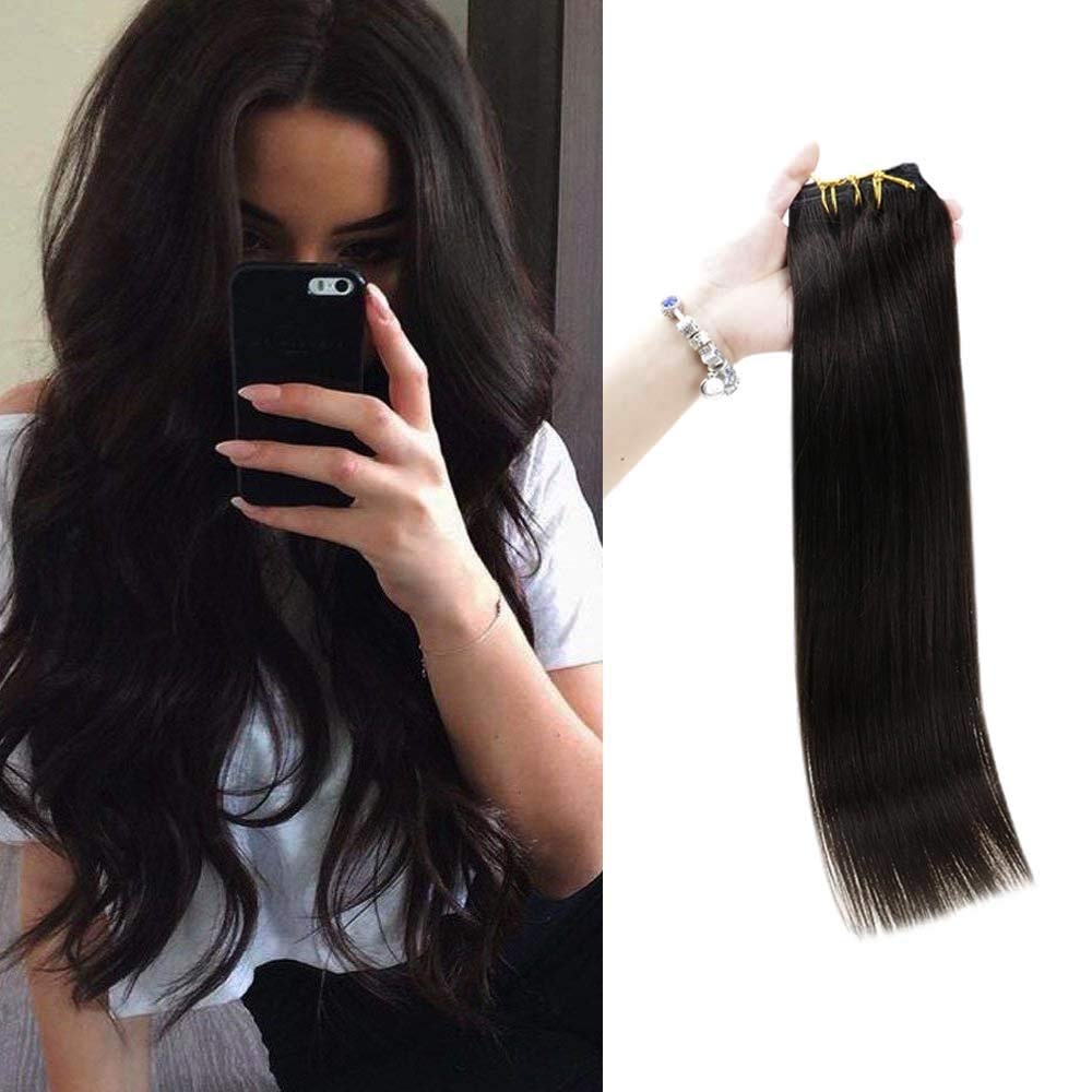 Full Shine Clip In 24 Inch Human Hair Extensions Real Hair 7 Pcs 100 Gram Color 1b Off Black Clip On Hair Weave For Thin And Short Hair