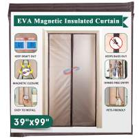 """Magnetic Insulated Door Curtain 39"""" x 99"""", IKSTAR EVA Thermal Door Cover, Full Frame Hook&Loop, Pets Kids Walk Through Freely, Enjoy Cool Summer & Warm Winter for A/C Bed Room, Kitchen, Stair - Brown"""