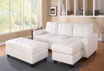 ACME Lyssa Sectional Sofa w/Ottoman - 51210 - White Bonded Leather Match