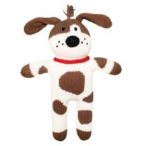 Zubels Baby Hand-Knit Mr. Woofers The Dog Plush Toy, All-Natural Fibers, Eco-Friendly, 7-Inch Rattle