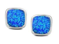 Star K Sterling Silver 8mm Cushion-Cut Earrings Studs