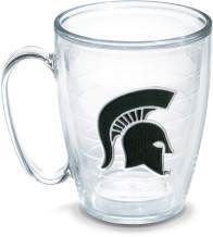 Tervis 1194694 Mi University Spartan Helmet Emblem Individual Mug, 16 oz, Clear