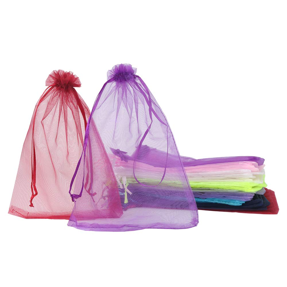 100 Pack 6x10 Inches Organza GIF Bags 10 Mixed Solid Colors for Toys Candy Chocolate Party Christmas Wedding Favor Gift