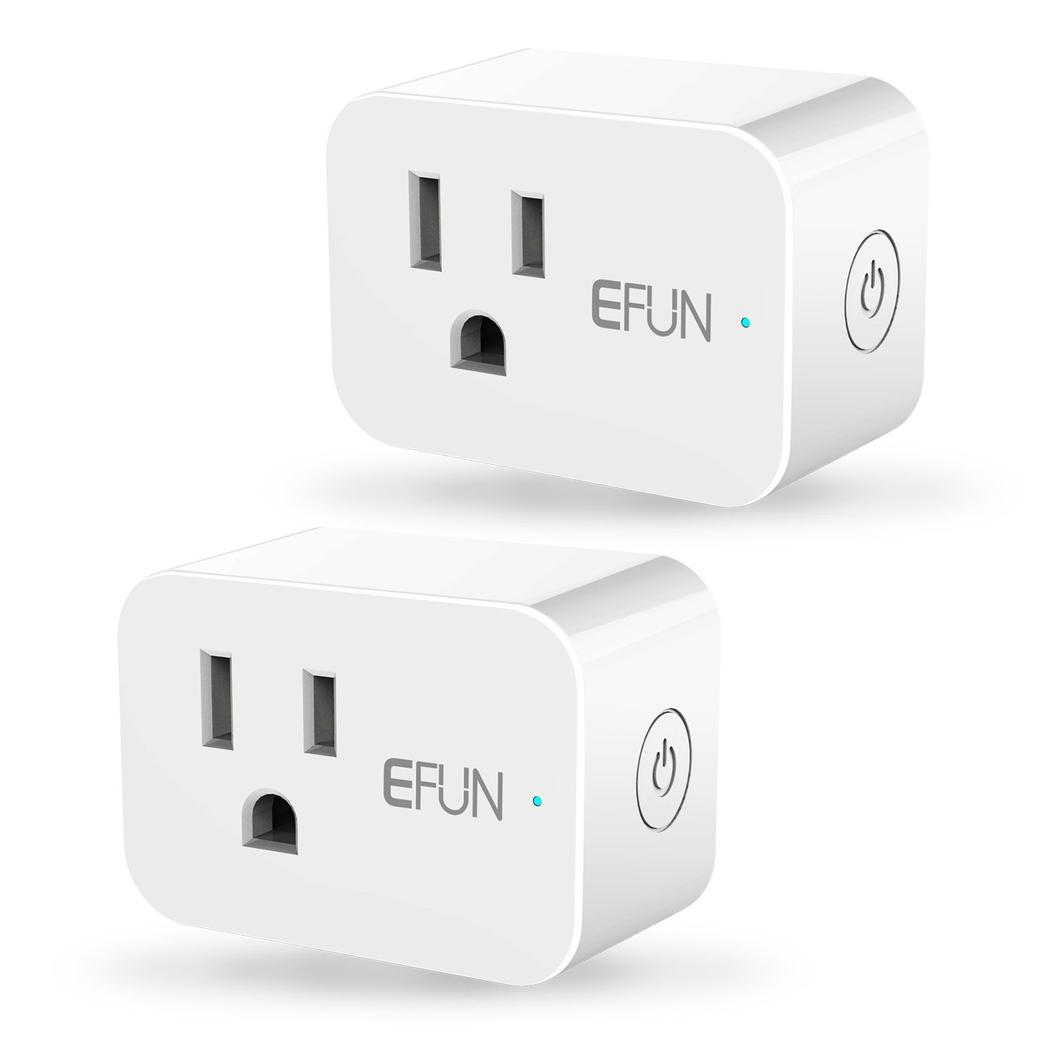 EFUN SH331W 2.4GHz Wi-fi Smart Plug,Energy Motoring,No Hub Required,Outlet Socket,10A(Works for Appliance below 1200 Watts),Works with Alexa/Google Assistant/IFTTT,2 Pack