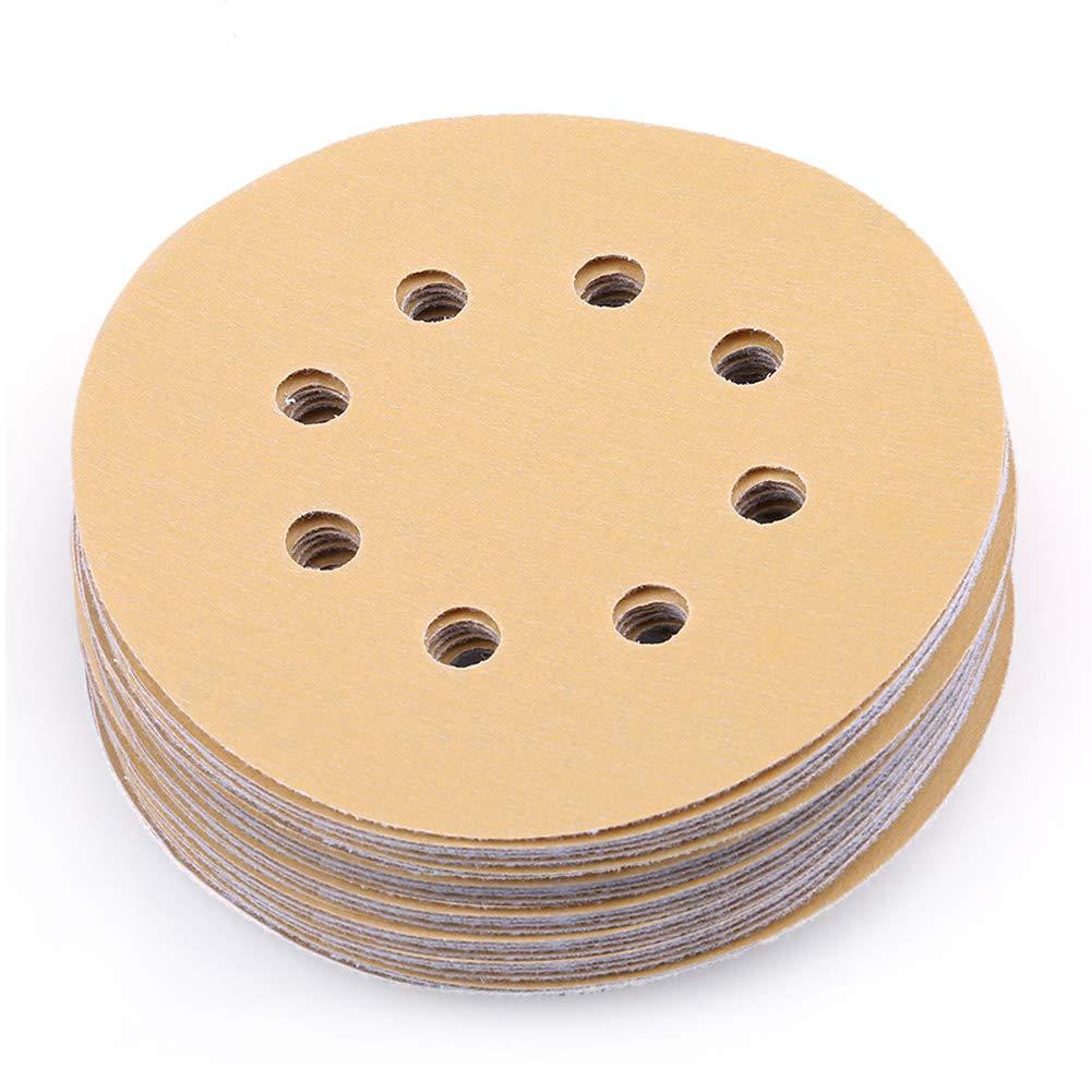 5 Inch 8 Hole 400 Grit Sanding Discs, Pack of 100, Random Orbital Sander Sandpaper, Hook and Loop Round Sand Paper by LotFancy