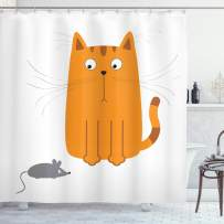 """Ambesonne Cartoon Shower Curtain, Cat Looking at Mouse Hunter Kitty Fun Humor Kids Animal Graphic Art Print, Cloth Fabric Bathroom Decor Set with Hooks, 84"""" Long Extra, Marigold Grey"""