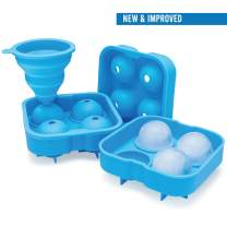 Arctic Chill Ice Cube Round Mold, Large 2 Inch Ice Balls, Comes with Bonus Collapsible Funnel, Keep Your Cocktails, Bourbon & Whiskey Chilled Longer, 4 Pack Makes 16 Big Ice Spheres w Recipe Ebook