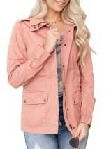 Womens Safari Utility Anorak Zip Up Jackets Long Sleeve Drawstring Lapel Wind Coats with Pockets