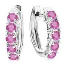 Dazzlingrock Collection 14K Round Gemstone Ladies Huggies Hoop Earrings, White Gold