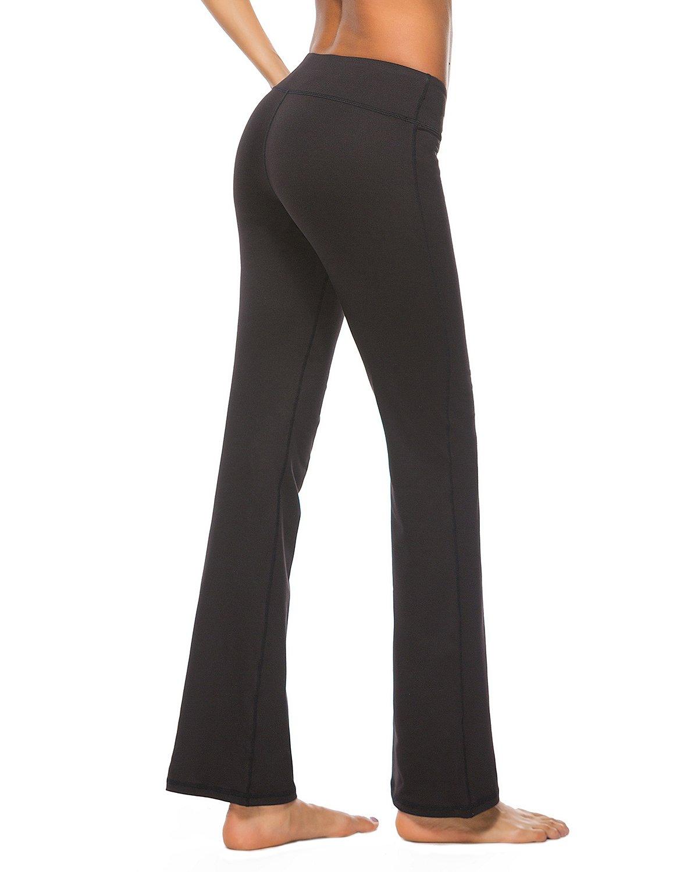 Uhnice Yoga Pants with Pocket Workout Bootcut Tummy Control Bootleg Flare Pants