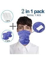 Asyoly Multi-purpose Bandanas Neck Gaiter with Safety Filters Unisex Washable