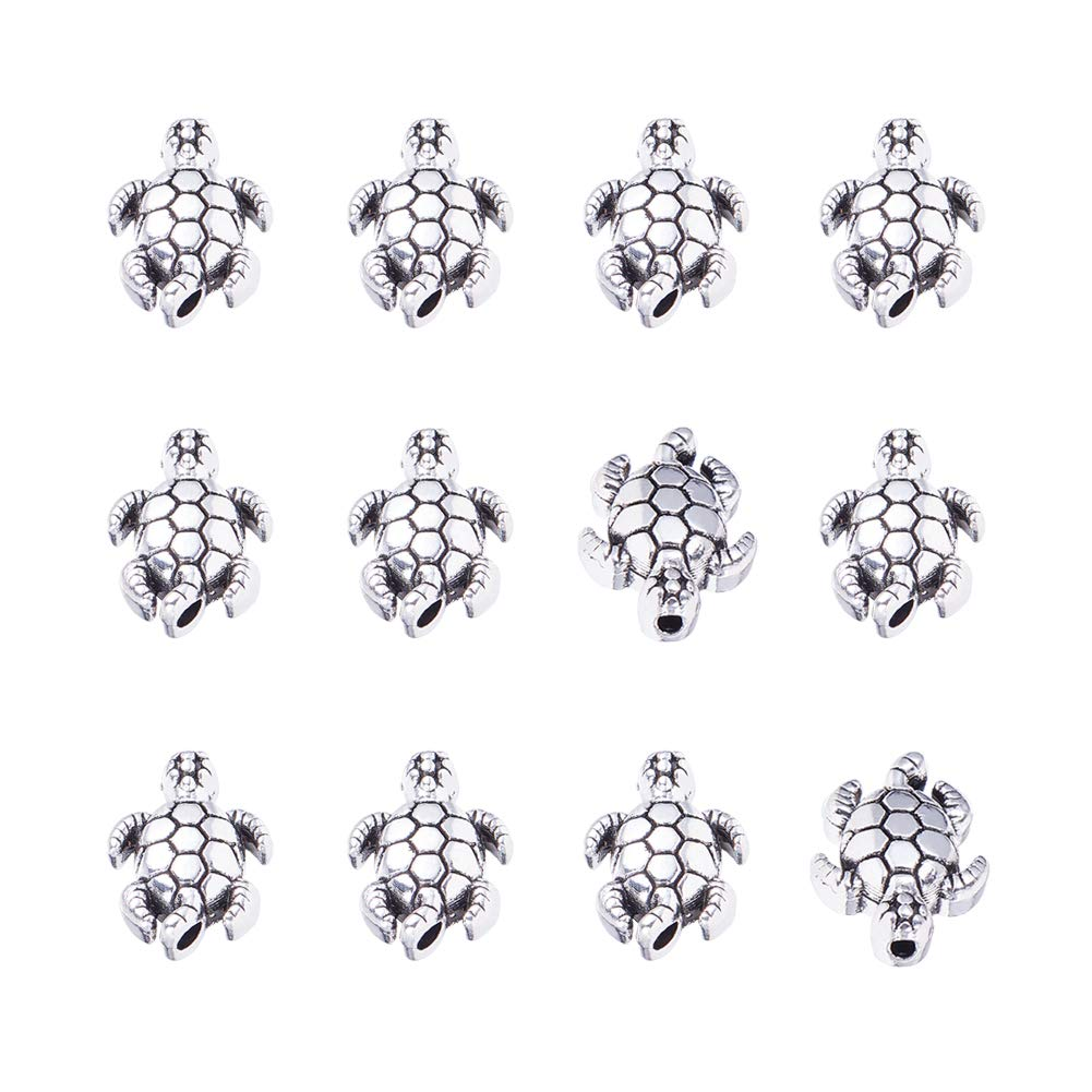 PH PandaHall 100pcs Tortoise Spacer Beads Tibetan Alloy Antique Silver Animal Metal Beads Charms for Bracelet Jewelry Making, 12.5x9mm