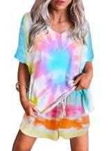Chase Secret Womens Short Sleeve Sleepwear Tie Dye Printed Pajama Set Loungewear Shirt with Shorts