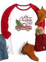 Plus Size Merry Christmas Y'all Baseball Shirt Women Christmas Truck Tree Cute Holiday Raglan Blouse Tops