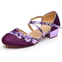 YING LAN Children Girl's Round-Toe Sparkly Glitter Side Bowknot Strap Modern Latin Ballroom Dance Closed-toe Shoe