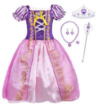 HenzWorld Little Girls Dresses Outfits Costume Princess Birthday Party Cosplay Purple Puff Sleeve Kids 2-10 Years