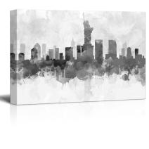 wall26 - Black and White New York City Statue of Liberty with Watercolor Splotches - Canvas Art Home Decor - 24x36 inches