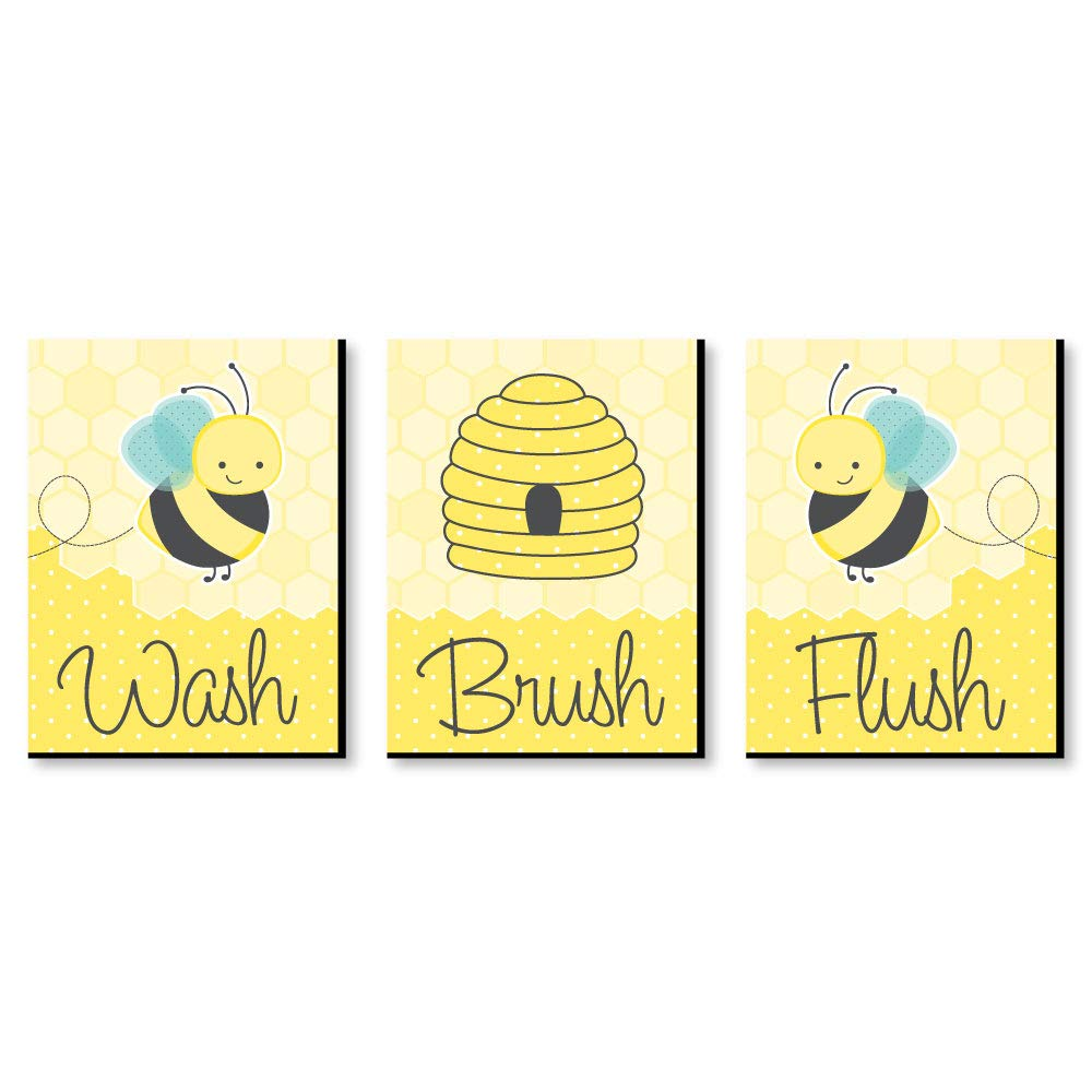 Big Dot of Happiness Honey Bee - Kids Bathroom Rules Wall Art - 7.5 x 10 inches - Set of 3 Signs - Wash, Brush, Flush