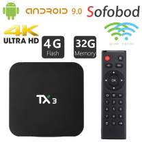 Sofobod TX3 S905 Smart TV Box Android 9.0 tv Box 4GB+32GB 4K TV Allwinner H6 Quad core ARM Cortex-A53 H.265 Decoding 2.4GHz/5GHz WiFi
