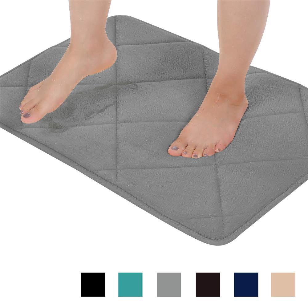Seavish Thick Memory Foam Bath Mat, 19.7'' x 31.5'' Grey Plaid Geometric Bath Rug Soft Cozy Flannel, Maximum Absorbent, Easier to Dry, Machine Washable, Non-Slip, Cushioned for Bathroom Floor Mat