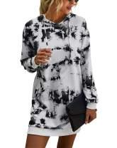 Kirundo Women's 2020 Winter Long Sleeves Sweatshirt Dress Solid Color Hoodie Drawstring Belt Long Pullover with Side Pockets