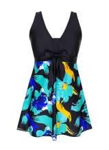 DANIFY Plus Size Swimsuits for Women Retro Skirt Swimwear Tankini Swimdress Tummy Control Swim Dress