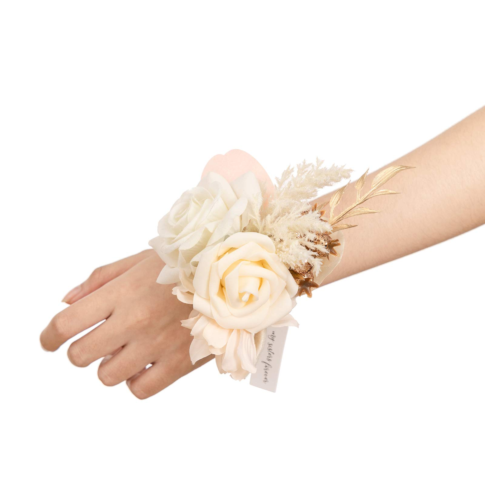 Ling's moment White & Beige Artificial Flowers Bridesmaid Wrist Corsage Bracelet, Set of 6, for French Rustic Vintage Wedding, Bridal Shower Party, Wedding Ceremony Anniversary, Corsage Ribbon Prom