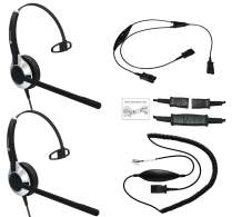 Deluxe Headset Training Solution (Includes 2 x TruVoice HD-500 Single Ear headsets with a NC Microphone, Training Cord and a Smart Lead That Works on 95% of Phones with RJ9 / RJ11 Headset Port)
