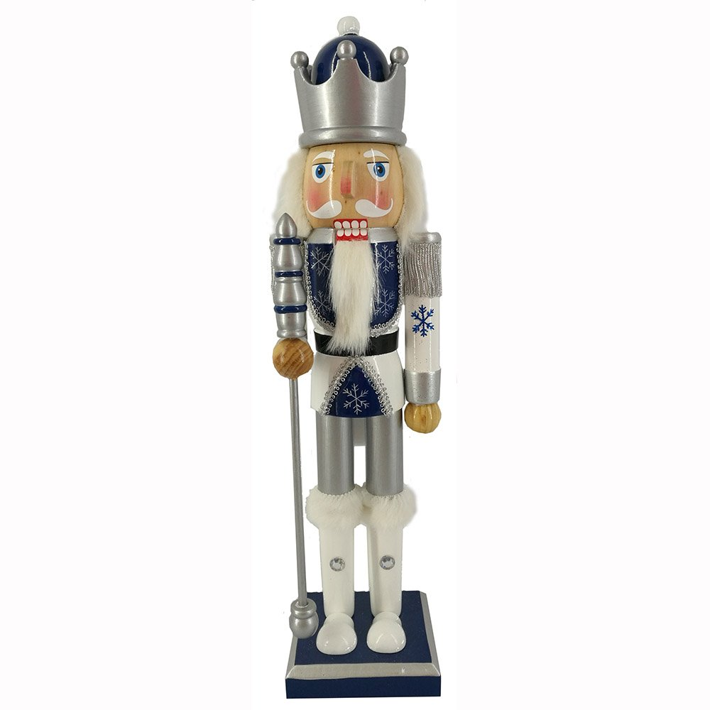 Christmas Holiday Wooden Nutcracker Figure Snow Fantasy Soldier King with Navy Blue, Silver, and White Uniform Jacket, Crown, White Hair, and Fur Cuffs with Sparkle Details Large, 15 Inch