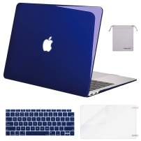 MOSISO MacBook Air 13 inch Case 2020 2019 2018 Release A2179 A1932 with Retina Display, Plastic Hard Shell&Keyboard Cover&Screen Protector&Storage Bag Compatible with MacBook Air 13, Crystal Navy Blue