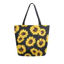 SUABO Tote Bag Sunflower Pattern Kitchen Reusable Grocery Bags Canvas Shopping Bag for Outdoor