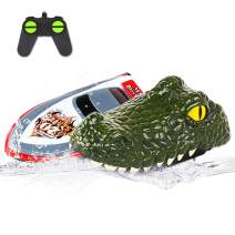 Electric Racing Boat, Crocodile Remote Control Boat Kit, 2.4G High-Speed Simulation Remote Control Alligator Head, Floating Crocodile Head Waterproof Prank Toys for Pools and Lakes