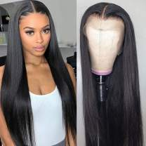 Middle Part Lace Front Wig for Black Women 28inch Straight Lace Front Wigs 13x4 Remy Brazilian Straight Human Hair Wigs Pre Plucked with Baby Hair (24inch, 13x4 lace)
