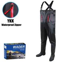 YVLEEN Fishing Chest Waders for Men with Boots - Fly Fishing Waders Boots,100% Waterproof Waders Hunting Waterfowl PPK Bootfoot Wader(Size 7-14)