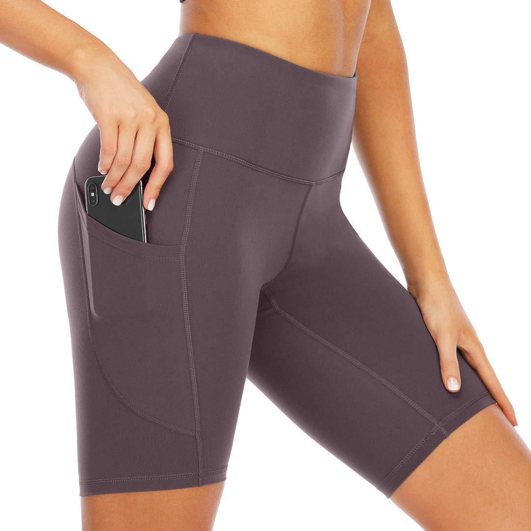 UEJUNBO Mid Thigh Stretch Cotton Span Pocket High Waist Active Yoga Pants Short Leggings