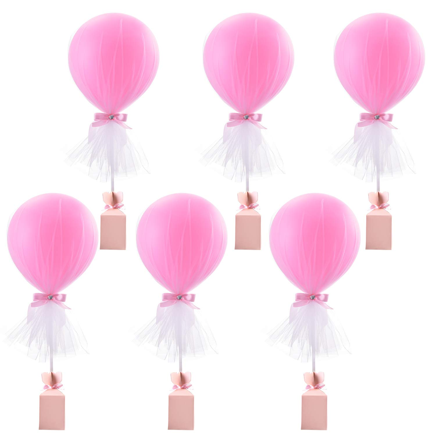 Pink Tulle Balloons Tutu Party Balloon Set with Box Base Balloon Centerpieces for Baby Shower Girl Birthday Wedding Princess Party Table Decorations Supplies,12 Inch Balloon White Tulle Cover,6 Pack