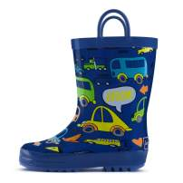 landchief Children's Rubber Printed Rain Boots Waterproof Rain Boots for Toddlers & Little/Big Kids, US5 Toddler, Navy Blue
