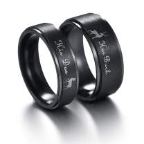 Stainless Steel Couples Ring His & Hers Real Love Heart Engraved Her Buck His Doe Elk Promise Ring Wedding