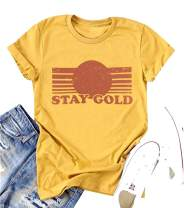 Stay Gold T-Shirts Women Ponyboy Vintage Graphic Outsider Tee Tops with Saying