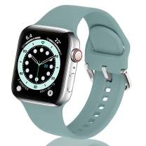 eCamframe Bands Compatible with Apple Watch Band 40mm 38mm 42mm 44mm, Soft Silicone Sport Replacement Wristband Compatible with iWatch Series 6 5 4 3 2 2 & SE Men Women