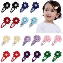 """Baby Girl Hair Clips AOKE 2.4"""" Multi-Angle Ribbon Lined Flower Hair Clips Non-Slip Metal Snap Barrettes for Baby Girls Toddlers Kids Hair Accessories 20 PCS"""