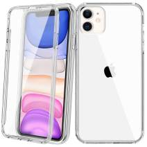 Vofolen Case for iPhone 11 Case with Built-in Screen Protector Full-Body Protection Dual Layer Rugged Rubber Bumper Armor Protective Slim Shell Flexible Soft TPU Cover for iPhone 11 6.1 inch (Clear)