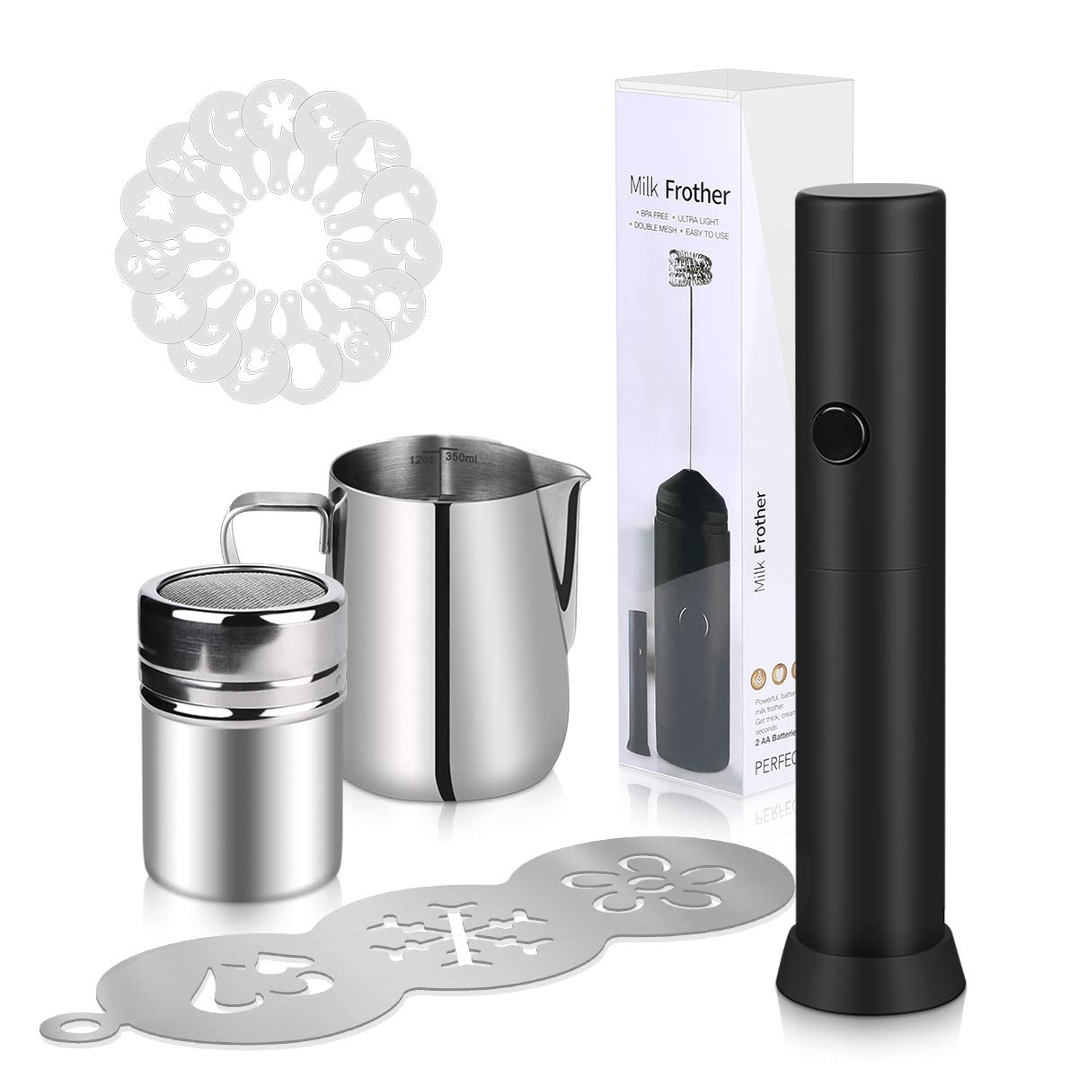 Aebitsry Milk Frother Coffee Art , Stainless Steel Scale Cup + Powder cone+ handheld milk frother + Stencils for Coffee, Latte Cappuccino, Hot Chocolate stainless steel coffee stencil, and 16 Pieces Stencils Art (Foam Maker Set 20PCS)