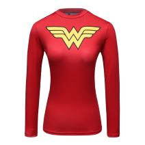 Red Plume Women's Compression Fitness Sport T-Shirt Wonder Girl Long Sleeve Top Red