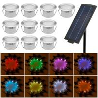 "Solar Deck Lights Kit, FVTLED 10pcs Φ1.77"" Solar Powered Dusk to Dawn Low Voltage LED Step Lights Kit Dimmable RGB Muti-Color Inground Lights"